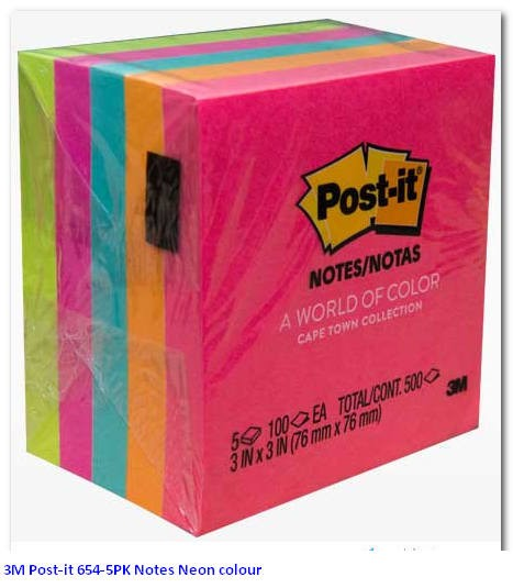 Supplier ATK Post-it 3M 654-5PK Notes Neon colour Harga Grosir