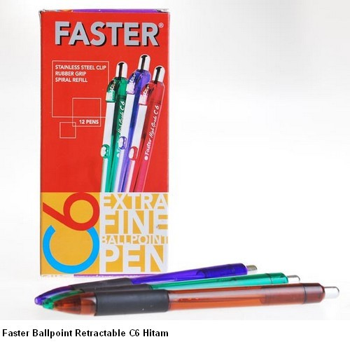 Supplier ATK Faster Ballpoint Retractable C6 Hitam Harga Grosir