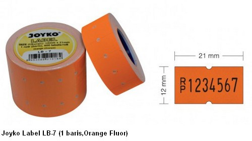 Supplier ATK Joyko Label LB-7 (1 Baris, Orange Fluor) Harga Grosir
