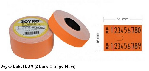 Supplier ATK Joyko Label LB-8 (2 Baris, Orange Fluor) Harga Grosir