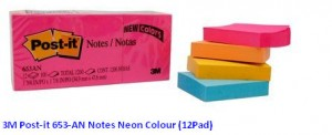 Supplier ATK Post-it 3M 653-AN Notes Neon Colour (12Pad) Harga Grosir